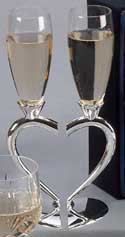 Personalized Pair of Goblets with a Split Heart Base