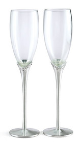 Personalized Pair of Glass Flutes with Crystal Satin Stems