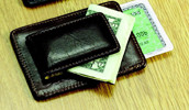 Personalized Brown Leather Card Holder and Money Clip
