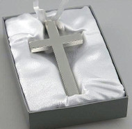 Personalized Silver Plated Cross with White Ribbon