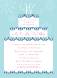 Blue Initial Cake Topper Invitation