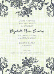 Green Floral Linen Invitation