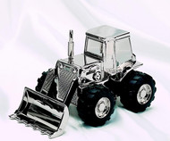 Personalized Nickel Plated Shiny Finish Tractor Bank
