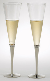 Pair of Nickel Plated Champagne Flutes with Crystals