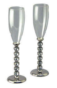 Pair of Nickel Plated Glass Flutes with Crystal Stems