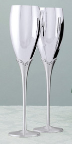 Pair of Silver Plated Flutes with Crystal Stems