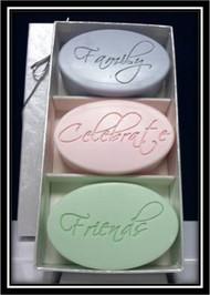 Family, Celebrate, Friends Carved Soap Trio Set