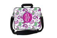 Pink and Green Fish Paisley Laptop Bags