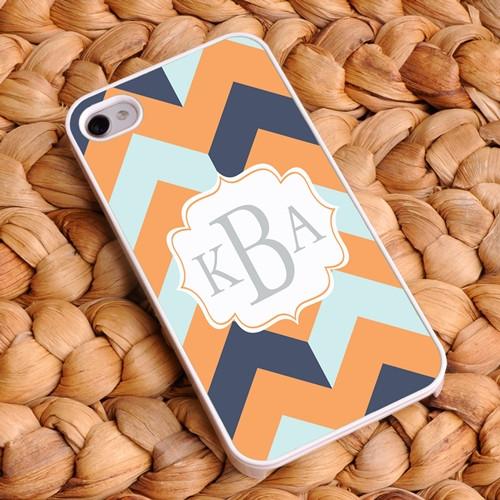 Chevron iPhone Case - Navy, Light Blue, and Orange