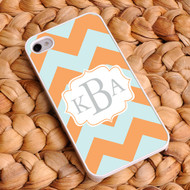 Chevron iPhone Case - Orange and Light Blue