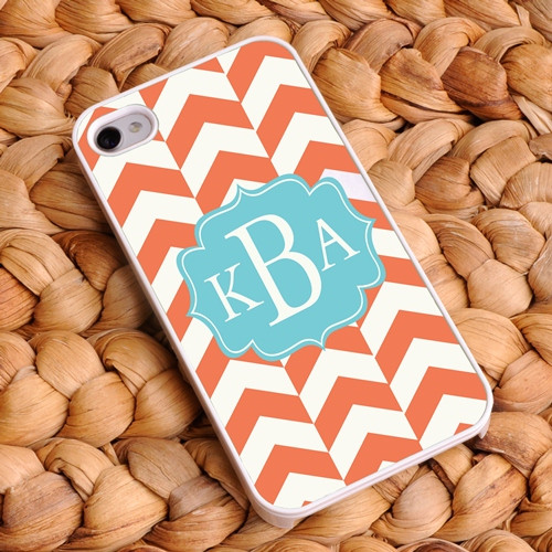 Chevron iPhone Case - Orange and White