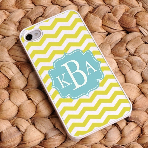 Chevron iPhone Case - White and Lime