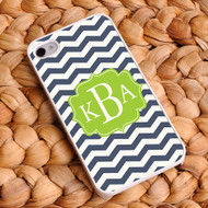 Chevron iPhone Case - White and Navy