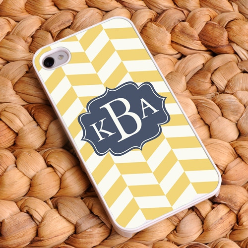 Chevron iPhone Case - Yellow-Gold and Off White