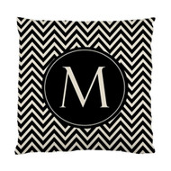 Black and Khaki Chevron Initial Custom Designer Pillows