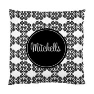 Black and White Frilly Name Custom Designer Pillows