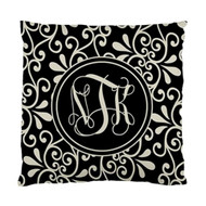 Black and Khaki Swirl Monogrammed Pillows