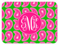 Hot Pink and Green Paisley Large Monogram Custom Designer Cutting Boards