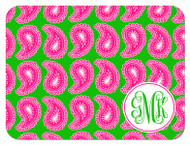 Hot Pink and Green Paisley Small Monogram Custom Designer Cutting Boards