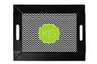 Black and White Chevron Custom Folding Tray with Coasters