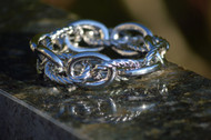 """Silver Large Link Ladies Bracelet - rope and smooth finish.  The high shine finish on this bracelet gleams with pride of its craftsmanship.  Stunning, yet you can wear it every day to add a touch of class to any outfit,  evening, day wear or even very casual as a finishing touch that will make you feel """"just a little extra special"""" the whole time you have it on.  This silver bracelet, to me, is such a classic that you might want to get two for when your first one finally wears out!"""