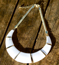 Large White Bib Necklace with gold chain