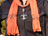 Jeweled Scarf - Orange with Fleur-De-Lis and Beads