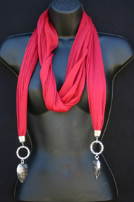 Jeweled Scarf - Red Two Hearts That Beat as One
