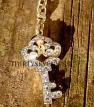 Gold Key Keychain with Swarovski Crystals
