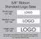 "5/8"" Custom Logo Satin Ribbon Logo Size Layouts"