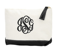Black Sullivan Canvas Cosmetics Bag - Monogram Shown: Master Circle Font/Black Thread