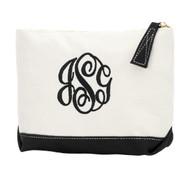 Black Sullivan Canvas Cosmetics Bag - Monogram Shown: Master Circle Font/Black Thread