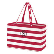 Garnet Striped Ultimate Tote - Monogram Shown: Black Thread/Single Classic Font
