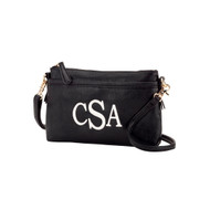 Black Crossbody Purse - Monogram Shown: Classic Font/White Thread