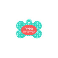 Personalized Mint Anchor Bone Pet Tag