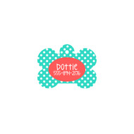 Personalized Mint Dot Bone Pet Tag