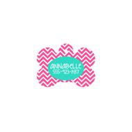 Personalized Hot Pink Chevron Bone Pet Tag