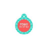 Personalized Mint Anchor Circle Pet Tag