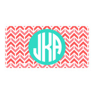 Personalized Coral Aztec Chevron License Plate