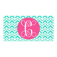 Personalized Mint Aztec Chevron License Plate