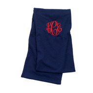 Monogrammed Navy Infinity Scarf