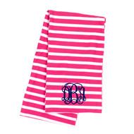 Monogrammed Hot Pink Stripe Infinity Scarf