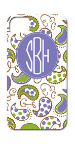 Hard Case Phone Cover - Purple and Green Paisley