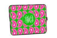 Hot Pink and Green Paisley iPad and Laptop Cases