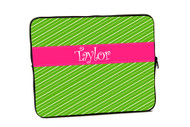 Fun Stripes Green with Pink iPad and Laptop Sleeves