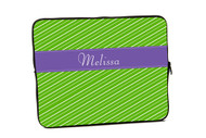 Fun Stripes Green with Purple iPad and Laptop Sleeves