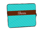 Fun Stripes Turquoise with Brown iPad and Laptop Sleeves
