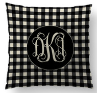 Black Gingham Monogram Custom Designer Pillows