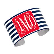 Cuff Bracelet - Navy Stripe with Red
