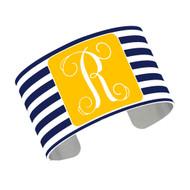 Cuff Bracelet - Navy Stripe with Gold